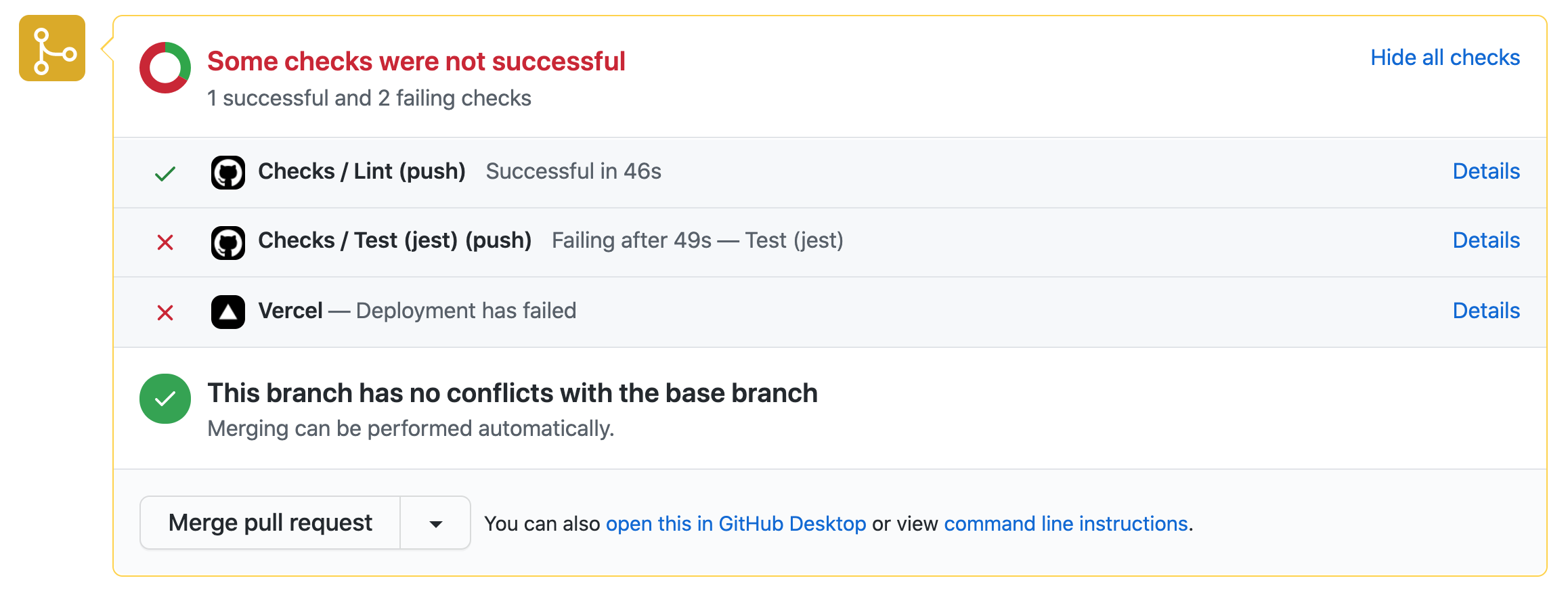 GitHub Action - Pull request with a failed test job which lead to a failing build